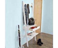 SoBuy® FRG113-W Nouveauté ! Porte manteaux Penderie à vêtement Étagère murale avec 4 crochets, 2 étagères et 1 tiroir - Blanc