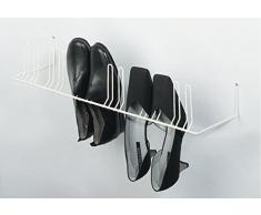 Support de rangement chaussures mural étagère à chaussures à vis sur le mur | pour 4 paires de chaussures | Largeur : 420 mm - RAL 9010 blanc pur | Meubles ferrures de gedotec®