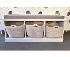 Style shabby chic unité de banc de rangement à chaussures couloir vintage fenêtre de tiroirs de salle de bain