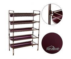 Kealive Etagère / meuble de rangement à chaussures en métal 5 étages. Légère, facile à monter, gain de place.