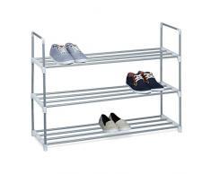 Relaxdays Meuble à chaussures en métal HxlxP: 70 x 90 x 31 cm rangement pour chaussure avec 3 étages pour 12 paires, Argent