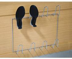Gedotec Support Chaussures Mural - Rangement Chaussures en Acier Chromé Brillant à Visser aux Murs - Porte Chaussures ANDOS Haute Qualité Largeur 500 mm pour 4 Paires de Basket ou Bottes - 1 Pièce