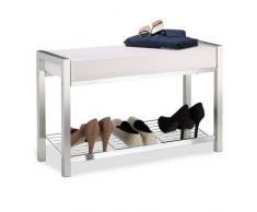 Relaxdays étagère à chaussures en métal, assise rembourrée à chaussures Banc à chaussures, tiroirs de rangement H x L x P : 47 x 80 x 31 cm, EN MÉTAL, Blanc