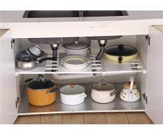Apsoonsell Armoire séparateur réglable de salle de bain Rack de stockage étagère pour vêtements jouet de cuisine Couverts, Plastique, blanc, 15-21.7 inch,Wide: 13.8 inch