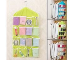 16 poches Armoire clair Porte mural de salle de bain à suspendre Sac Caddy Chaussures Sous-vêtements Chaussettes de cintre Armoire de stockage Rangement pour free size Green