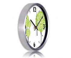 Horloge Murale Quartz Penderie Murale Penderie Salon Chambre MéTal Horloge Murale Ultra-Silencieuse,Silver,16inch