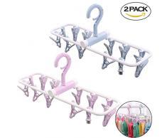 Creatiees Lot de 2 Portable pliant de voyage Clip, Drip Séchage Hanger Rack avec 12 Pinces pour vêtements Chaussettes Sous-vêtements – coupe-vent et économiser de l'espace