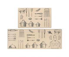 SHACOS Lot de 2 Pièces Tapis de Cuisine Moquette Tapis Cuisine Antidérapant Lavable Tapis Cuisine PVC Beige Long Tapis de Cuisine Devant Evier Antiderapant