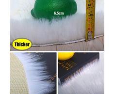 Peau de mouton synthétique,QUANHAO Moelleux Cozy laine Tapis en fourrure synthétique,Cheveux long Et Cheveux courts Man-made luxe Laine Tapis de Canapé Coussin (90 X 90 CM, Cheveux longs Blanc)