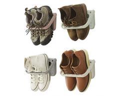 Baffect Support de Chaussure Mural Pliable 4 Pieces, Range-Chaussures Rabattable Etagere Suspendue pour etagère de Rangement pour Chaussures, 4 pcs Blanc