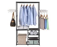 WOLTU SR0028-a Penderie à vêtement ,Portant à vêtements Porte-manteau vêtements rack, 87x44x158cm,Noir