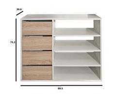 INSIDE Meuble à chaussures MIRAGE blanc design 4 tiroirs chêne