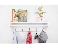JRLinco Mural Porte-Manteau Cintre en Bois Massif 5 Crochets, Multifonctionnel l'étagère de présentoir, Étagère Murale pour la Chambre &la Salle de Bains et la Décoration de la Maison 65.5CM