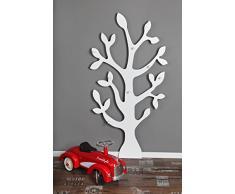 Clever Moebel Porte-manteau mural Motif arbre Blanc 150 cm