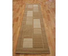 """Long tapis de passage/couloir moderne à rayures traditionnelles multicolores, 4304 Beige, 60 x 230 cm (2' x 7'7"""")"""