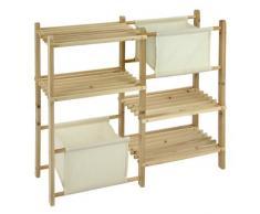 Étagère en bois multi-usages avec 4 étagères et 2 tiroirs - idéal comme une étagère étagère à chaussures ou salle de bains!