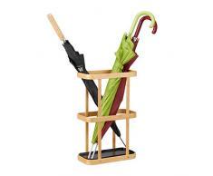 Relaxdays Porte-parapluies rectangle en bambou design naturel élégant support bois métal HxlxP: 45 x 29,5 x 15cm, nature