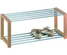 HomeTrends4You 839155 Meuble à chaussures Métal chromé Blanc 80 x 32 x 30 cm