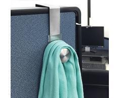 mDesign patère à accrocher (lot de 2) – idéal porte manteau mural sans perçage pour cloisons de bureau fixes et mobiles – penderie murale pour vestes, manteaux ou pour sacs – argenté
