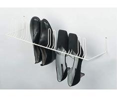 Gedotec étagère à chaussures montage mural vestiaire vissage   Support pour 6 paires de chaussures Largeur: 420 mm   Métal RAL 9010 blanc pur   porte-chaussures pour couloir et couloir - 1 pièce