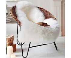 Faux Peau de Mouton en Laine Tapis (60 x 90 cm), Tapis en Peau de Mouton synthétique Fluffy Soft Imitation Toison Moquette Décoratif Coussin de Chaise Canapé Natte (Blanc)
