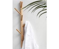 Portemanteau Porte-manteau suspendu en branche en bois massif, porte-manteau fixé au mur, avec 6 crochets en bois for cuisine salle de bain couloir