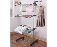 Best Buy Box Vêtements Rack Rail – Heavy Duty vêtement étagère avec 4 Wheels- robuste/pliable pour la maison et chambre à coucher (4 Options) -68in haute X 50 en polyester Gris