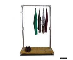 Vorhut 'Macclesfield' - Vintage Industrial Scaffold Board Clothes Rail & Shoe Rack (plateau d'échafaudage industriel vintage rail à vêtements et chaussure)