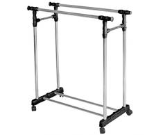 Vêtements tringle double en acier inoxydable avec roues vêtement stockage rack stand