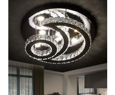 Lampe en cristal Lampe de plafond à LED dimmable avec télécommande ronde moderne lune design plafonnier salon lustre éclairage pour chambre enfant Éclairage de plafond 126W Ø55CM