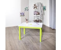 Table en bois pour enfant - Vert et blanche