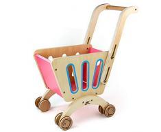 jerryvon Chariot Enfants Caddie Marchande en Bois Dinette Enfant Trotteur Bebe pour Enfants Fille Garcon 3 4 5 6 Ans(Bois de Qualité)