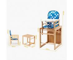ZHAOYONGLI Chaise Haute Bébé Chaise Haute Évolutive Chaise De Salle À Manger Bleue Multifonctionnelle Avec Ceinture De Sécurité En Bois Massif Créatif Forte Durable Longue durée de vie