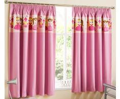 PRINCESSE - Imprimées rideaux de la chambre - Rose - Rideaux thermiques - 75mm Ruban Fronceur - Gamme Qualité (117 x 137cm)