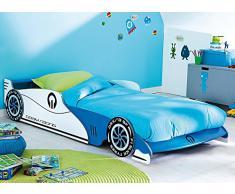 Lit voiture enfant Bleu, Sommier Inclu, 209 x 40.5 x 101.5 cm -PEGANE-