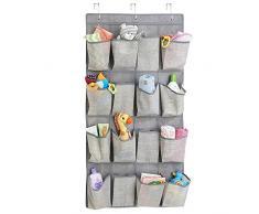 mDesign rangement enfant en tissu pour l'armoire de bébé – meuble suspendu – étagère suspendue pour peluches, jouets, lingettes – 16 poches – en PVC – gris