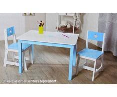 Table en bois pour enfant - Bleu et blanche