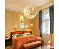 Lustre lune étoiles pour chambre d'enfant Lustre suspendus Plafonnier à domicile avec lumière douce ,40*100cm