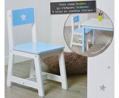 Chaise pour enfant en bois bleu et blanche