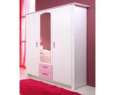 Armoire 3 portes Blanche et Rose pour Chambre Fille, L 136 x H 181 x P 56 cm -PEGANE-