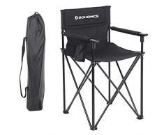 SONGMICS Chaise de Directeur Pliante et Haute, Chaise de Camping à 3 Pochettes, Maquilleur, Coiffeur, Structure Durable, Charge Max de 150 kg, Noir GCB12BK