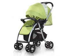 JLKDF Poussette bébé, Poussette Pliante légère Poussette bébé Poussette avec poignée de poussée réversible et réglable pour Les Enfants de la Naissance à 25 kg,Vert