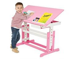 TecTake Bureau enfant hauteur réglable plateau de table inclinable 109 x 55 cm en bois - diverses couleurs au choix - (Rose | No. 400926)