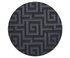 Deconovo Lot de 2 Rideau Occultant Gris Noir Isolant à Oeillets Couche de Mousse Jacquard Tissu avec Motif pour Rideaux Chambre Enfant Fenêtre 140 x 180cm