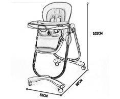 WYQBBY Chaise Haute pour bébé - Cuir et métal de Haute qualité, 6 Mois - 4 Ans Chaise de Salle à Manger pour bébé Multifonction Pliante Portable 6 en 1 ( Color : Noir et Blanc )