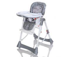 LCP Kids Chaise Haute Bébé et Enfant Réglable de Hauteur et Dossier, Pliante Inclinable avec Tablette - Gris