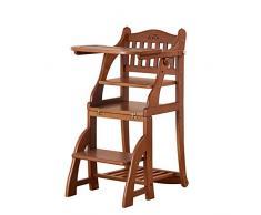 YZjk - Chaise de Salle à Manger pour Enfants Multifonction en Bois Massif Peut sasseoir Pliable por bébé Mange la de Jeu Chaise de Jeu (Couleur: Couleur Bois)