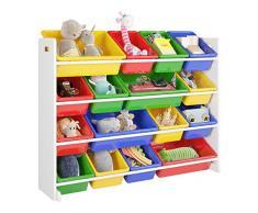 Homfa Étagère pour Jouets Enfants Meuble de Rangement de 4 étages pour Chambre d'Enfant 106×23×80cm Blanc