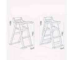 Chaise Haute bébé Chaise Haute Évolutive Chaise de dîner Pliante Portable en Bois Massif avec Ceinture de sécurité ZHANGQIANG (Couleur : Cherry, Taille : Large)