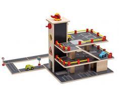 Jouéco enfants-garage Jeu-voiture garage Parking avec 3 Parc plat et 3 Voitures 1 Hélicoptère Panneaux de signalisation routière Plaques de route 20 pièces en bois